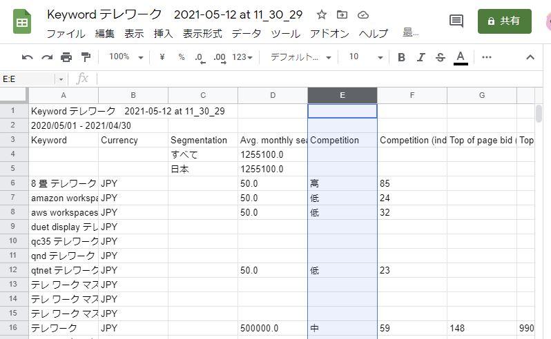 Googleキーワードプランナー フィルタを作成