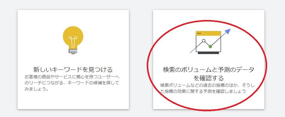 Googleキーワードプランナー 検索ボリュームチェック